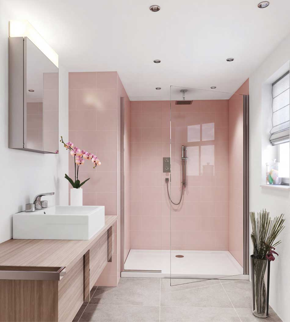 Walk-in shower in Rose Quartz pastel pink
