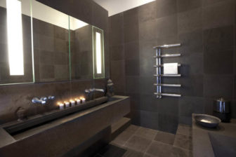 Bisque Chime towel radiator on display at our Grantham & Chesterfield Bathroom Centres