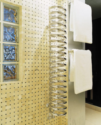 Bisque Hot Spring bathroom radiator on display at all of our showrooms