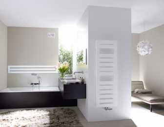 Zehnder Metropolitan Spa heated towel rail on display at our Derby & Chesterfield Bathroom Centres