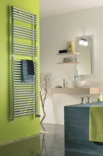Citrus Green is a perfect partner for this Chrome Zehnder heated towel rail