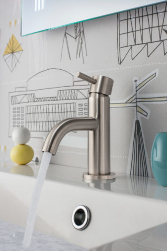 Crosswater MikePro in stainless steel on display at our Grantham Bathroom Centre