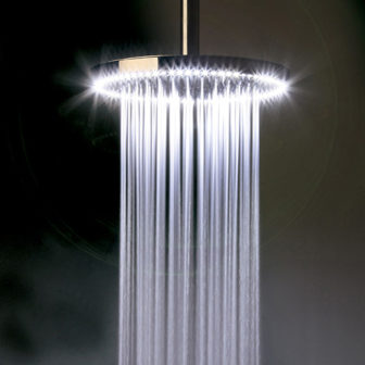 Crosswater Rio illuminated showerhead - working model on display at our Chesterfield Bathroom Centre