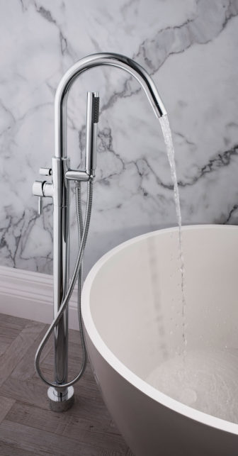 Crosswater Design floor-mounted Bath Shower Mixer on display at our Grantham showroom