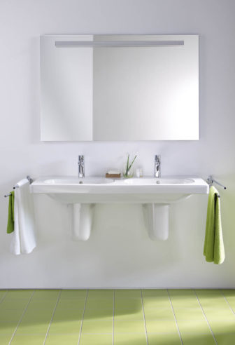Duravit D-Code double basin unit with a Greenery theme choice of towels