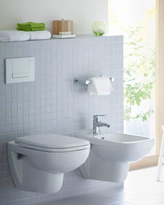 Duravit D Code wall-mounted WC and bidet, with Pantone inspired accessories