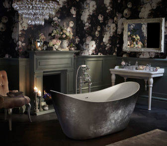 Heritage Hylton freestanding bath in Steel effect, on display at Willbond Grantham