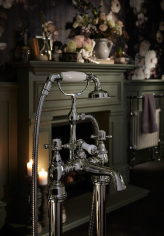 Heritage Hartlebury bath shower mixer on display at Grantham, Chesterfield & Derby