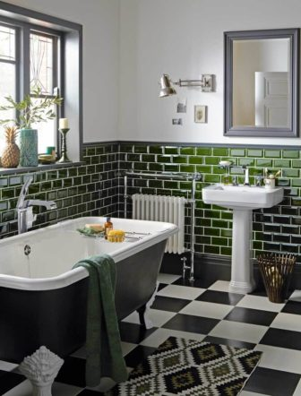 Heritage Miami deco inspired bathroom with on-trend bottle green Metro tiles