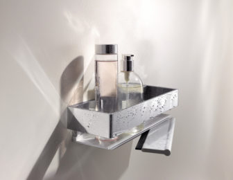 Keuco Edition 11 Shower Basket with Glass Squeegee on display at all our Bathroom Centres