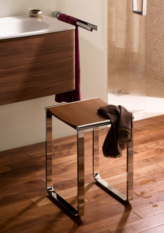 Keuco Universal bathroom stool in chrome with walnut veneer (wetroom version also available) on display at all our Bathroom Centres