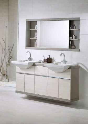 Utopia Luca in White Linear with Aragon Flint framing & cabinet