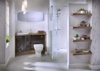 Utopia Symmetry fitted furniture on display at our Chesterfield Bathroom Centre