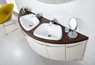 Utopia Symmetry double basin unit in Tuscan Gloss with Cordoba Olive worktop