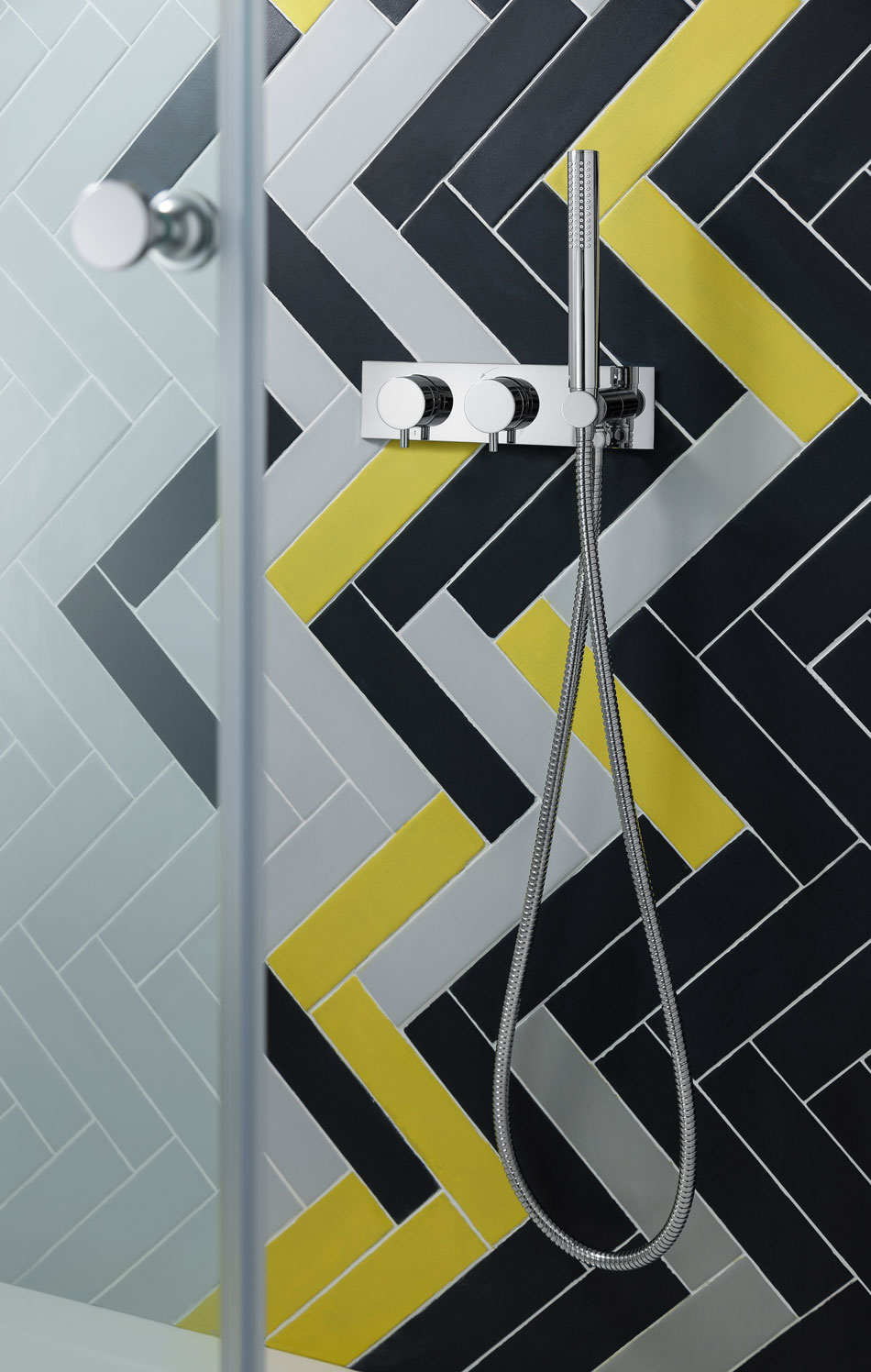 Crosswater 1701 shower valve with geometric tiling
