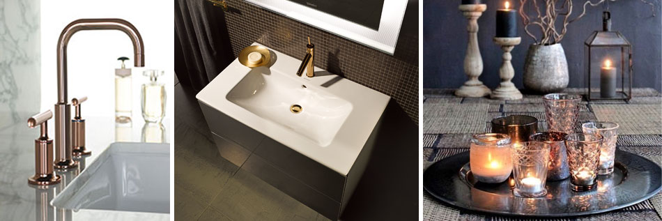 Bathroom design trends 2016, mix metallics and warm metals
