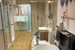 Showers, basins, bathroom mirrors and cabinets on display in Nottingham